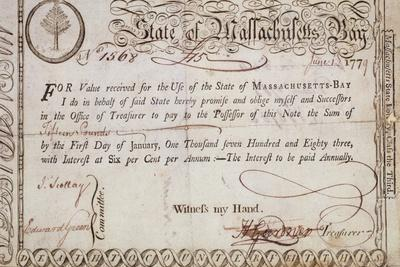 State of Massachusetts Bay Promissory Note, Said to Be Engraved by Paul Revere (1735-1818) 1779