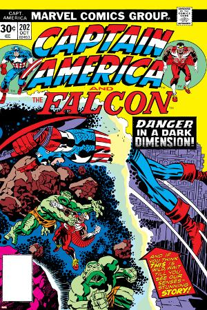 Captain America And The Falcon No.202 Cover: Captain America and Falcon Fighting and Flying