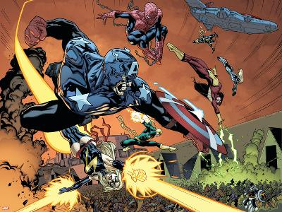 New Avengers No.59 Group: Captain America, Ms. Marvel, Spider-Man, Iron Fist and Spider Woman