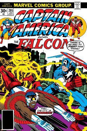 Captain America And The Falcon No.205 Cover: Captain America, Falcon and Agron Fighting and Flying