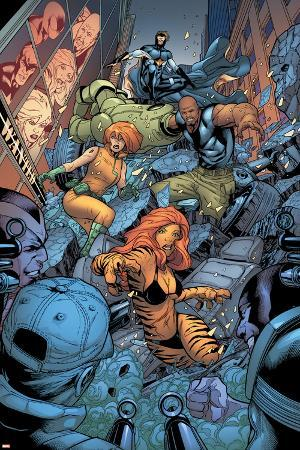 Avengers: The Initiative No.26 Group: Tigra, Ultragirl, Gauntlet and Justice Jumping