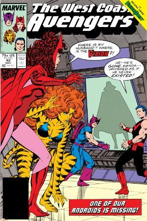 Avengers West Coast No.42 Cover: Scarlet Witch, Tigra, Wonder Man, Hawkeye and West Coast Avengers