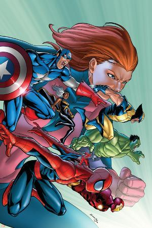 Marvel Adventures Avengers No.32 Cover: Spider-Man, Captain America, Wolverine and Hulk