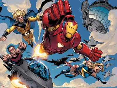 The Mighty Avengers No.8 Group: Iron Man, Ms. Marvel, Sentry and Wonder Man