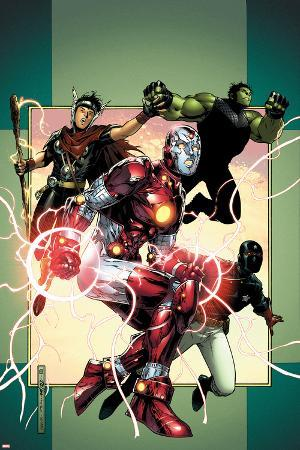 Young Avengers No.3 Cover: Iron Lad, Wiccan, Hulkling and Patriot