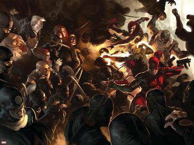 Daredevil No.100 Cover: Daredevil, Elektra, Luke Cage, Iron Fist and Spider-Man