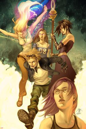 Runaways No.1 Cover: Dean, Karolina, Minoru, Nico, Hayes, Molly, Stein, Chase and Runaways
