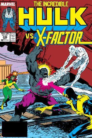 Incredible Hulk No.336 Cover: Iceman, Grey, Jean, Cyclops, Hulk and X-Factor Crouching