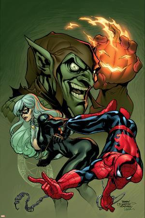 Marvel Knights Spider-Man No.10 Cover: Spider-Man, Black Cat and Green Goblin