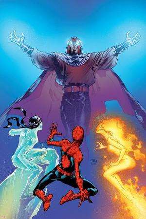 Ultimate Spider-Man No.119 Cover: Spider-Man, Firestar, Iceman and Magneto
