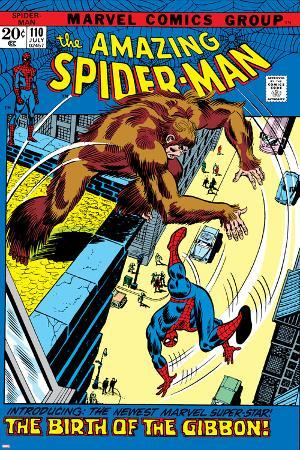 The Amazing Spider-Man No.110 Cover: Spider-Man and Gibbon