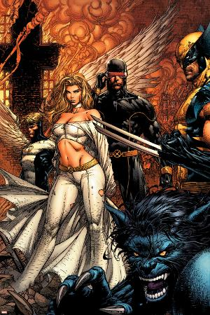 Uncanny X-Men No.494 Cover: Beast, Emma Frost, Cyclops and Wolverine