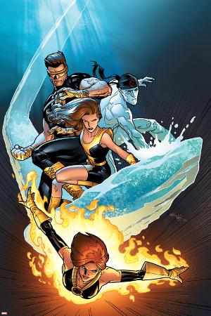 Ultimate X-Men No.57 Cover: Grey, Jean, Iceman, Cyclops and Shadowcat Fighting