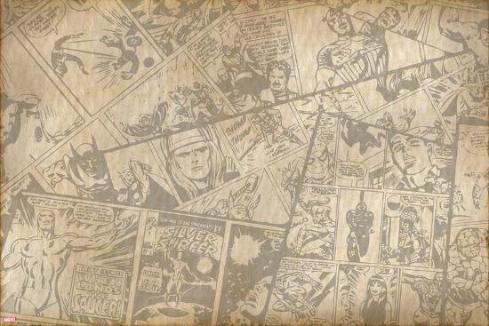 Marvel Comics Retro Background Print At Allposters Com