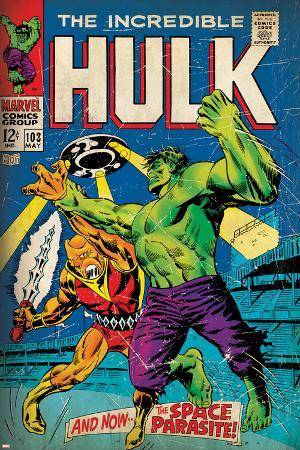 Marvel Comics Retro: The Incredible Hulk Comic Book Cover No.103, with the Space Parasite (aged)