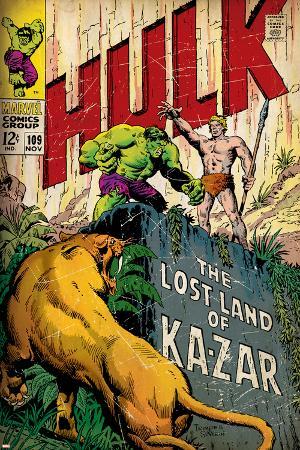 Marvel Comics Retro: The Incredible Hulk Comic Book Cover No.109, the Lost Land of Ka-Zar (aged)