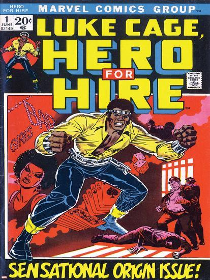 Book Cover Returns To Its Origins In >> Marvel Comics Retro Luke Cage Hero For Hire Comic Book Cover No 1