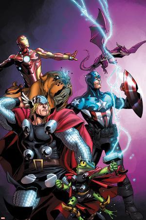 Avengers vs. Pet Avengers No.1 Cover: Thor, Captain America, Iron Man, Throg, Lockjaw, and Lockheed