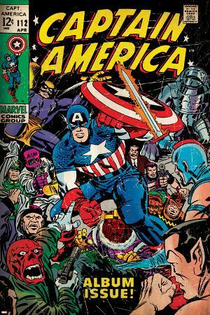 Marvel Comics Retro: Captain America Comic Book Cover No.112, Album Issue! (aged)
