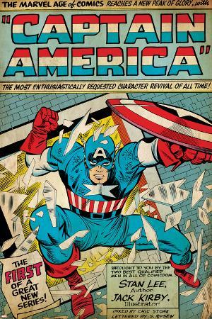 Marvel Comics Retro: Captain America Comic Panel; Smashing through Window (aged)