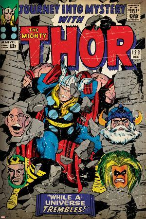 Marvel Comics Retro: The Mighty Thor Comic Book Cover No.123, Mystery with Absorbing Man, Odin