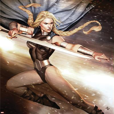 Secret Avengers No.14 Cover: Valkyrie Jumping with a Sword