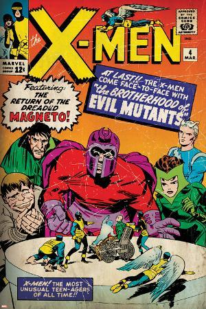 Marvel Comics Retro: The X-Men Comic Book Cover No.4, Scarlet Witch, Quicksilver, Toad(aged)