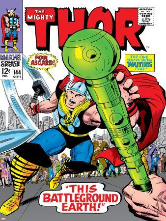 Marvel Comics Retro: The Mighty Thor Comic Book Cover No.144, Charging, Swinging Hammer
