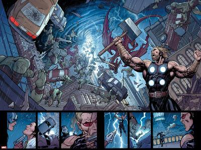 Ultimate New Ultimates No.5: Panels with Thor Holding Mjonir, Screaming in a Storm