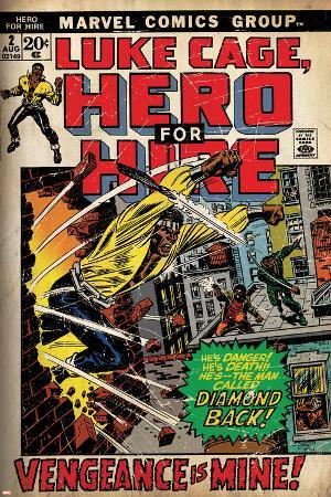 Marvel Comics Retro: Luke Cage, Hero for Hire Comic Book Cover No.2, Smashing Wall (aged)