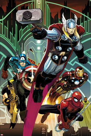 Avengers No.5 Cover: Thor, Captain America, Spider-Man, Iron Man, and Wolverine Flying