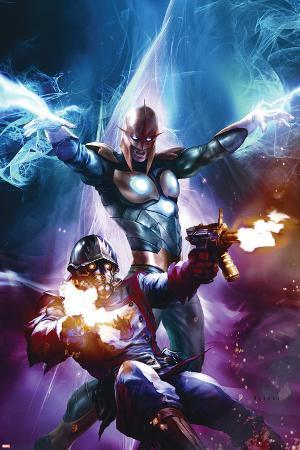 The Thanos Imperative No.6 Cover: Star-Lord and Nova Shooting