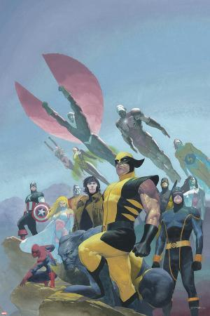 House of M MGC No.1 Cover: Wolverine, Cyclops, Gambit, Spider-Man, Captain America and Others