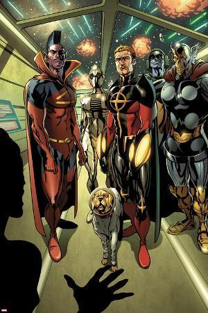 Annihilators: Earthfall No.1: Gladiator, Quasar, Beta-Ray Bill, and Cosmo Standing Together