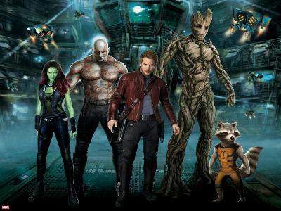 Guardians of the Galaxy - Rocket Raccoon, Draxm Star-Lord, Gamora, Groot