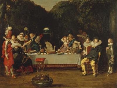 Elegant Figures Feasting in an Arbour