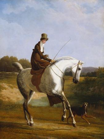 Miss Cazenove on a Grey Hunter, a Dog Running Alongside