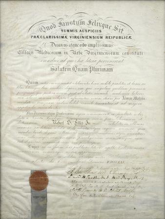 Diploma of Robert S. Ellis Jr., 1861