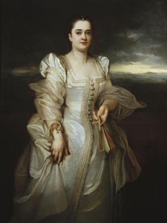 Portrait of a Lady Wearing a White Dress Embroidered with Pearls