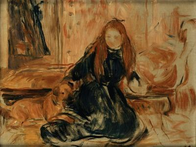 Young Girl Playing with a Dog