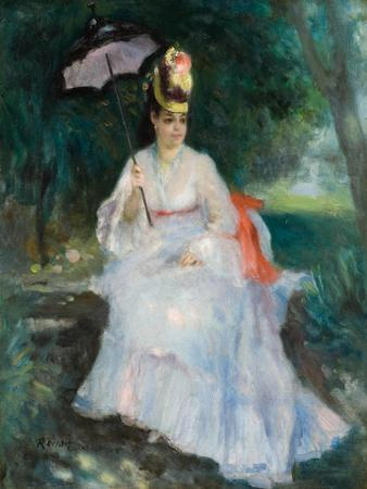 Woman with a Parasol Seated in the Garden (Lise Trehot), 1872
