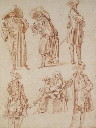 Two Studies of the Doctor in the Italian Comedy and Four Officers, Three Standing, One Seated
