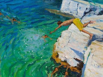 Detail of Jumping into the Sea, Plates, Skiathos, 2015