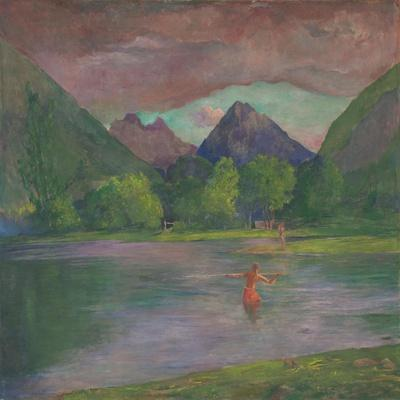 Afterglow, Tautira River, Tahiti, Fisherman Spearing a Fish, c.1895