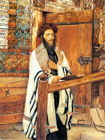 Rabbi in Front of the Wooden Synagogue Jablonow