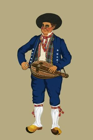 Musician from the City of Auvergnat Wears Britches