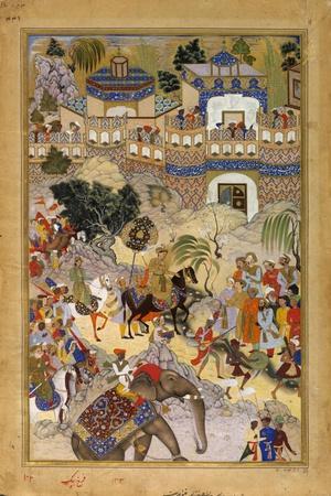 Farrukh Beg. Akbar's Triumphal Entry into Surat. Akbarnama