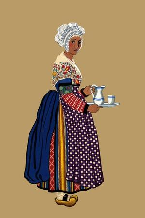 Woman from St. Germain, Lembron Serves a Pitcher of Milk for Coffee or Tea