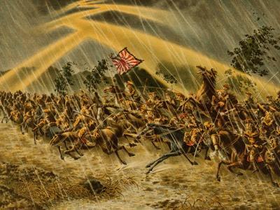 Japanese Cavalry Advances Thru a Storm