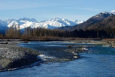 A Scenic View of the Chilkat River and the Snowy Chilkat Range
